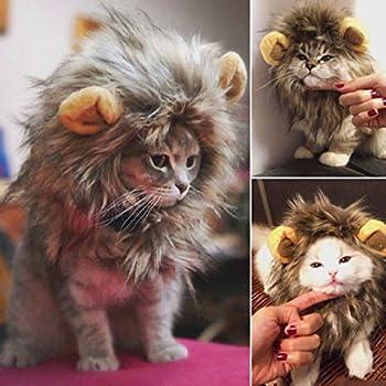 Rameng Costume de Lion pour Petit Chien Chats Chapeau Crinière Déguisement Mane Cheveux Perruque (Noir)