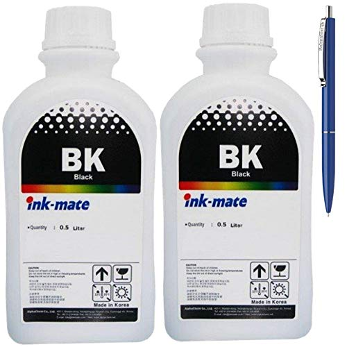 Ink-Mate Recambio de botella de tinta compatible para HP C8765EE (338), 2 unidades de 500 ml, color negro y bolígrafo Schneider