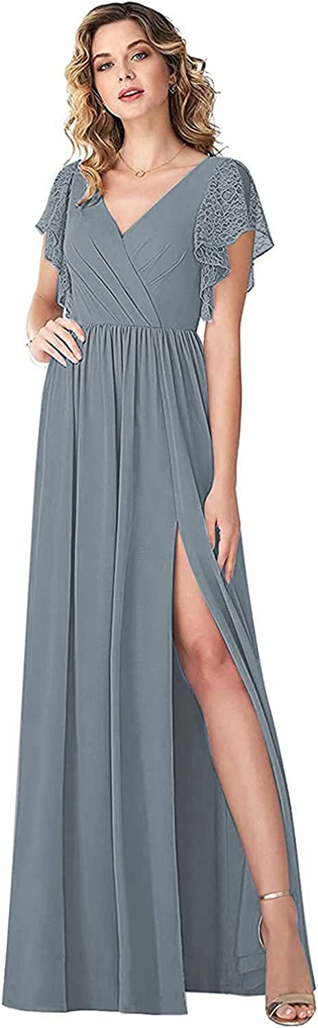Dimei Sale price Bridesmaid Dress with Lace Split Sleeves Chiffon Formal Pa 40% OFF Cheap Sale