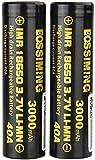 WSPY 2 Pcs Pilas Recargables 18650 Litio Iones Batería 40A 3.7V 3000mah Capacidad Baterías de Litio Superior Plana Células Acumuladoras para Linterna Antorcha Faro Walkie Talkie
