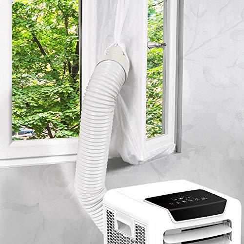 Kasimir Fensterabdichtung für Mobile Klimageräte, Klimaanlagen, Wäschetrockner, Ablufttrockner Passend zu Jedem Klimagerät und Allen Schlauchgrößen - klimaanlage fensterabdichtung 400 cm, Weiß