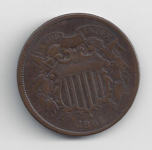 1864 No Mint Mark Circulated Two Cent Piece Civil War Era Two-Cent...