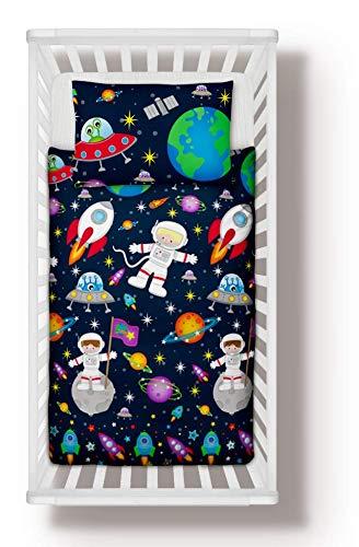 Space Ships, Planets Nursery Juego de cama con funda de edredón y funda de almohada para cuna, cama...