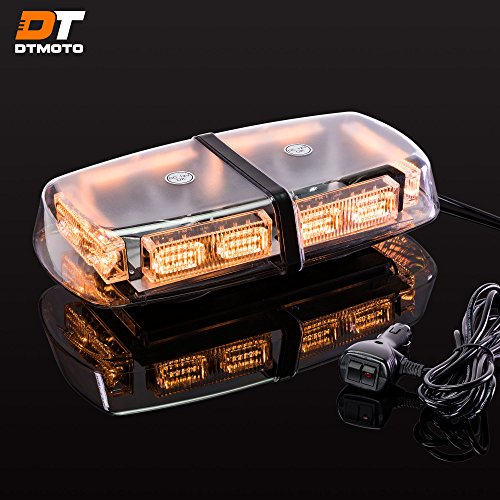 12' 36W Amber LED Strobe Flashing Mini Light Bar - Waterproof Magnetic Roof Top Mount Emergency Yellow Strobe Warning Lights for Trucks Golf Cart Tractors Vehicles Cars Forklift