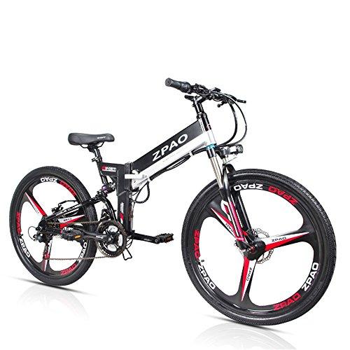 ZPAO KB26 21 Biciclette elettriche Pieghevoli, 48V 10.4Ah Batteria al Litio, 350 W 26 Pollici Mountain Bike, 5 Livelli di Assistenza al Pedale, Forcella di Sospensione