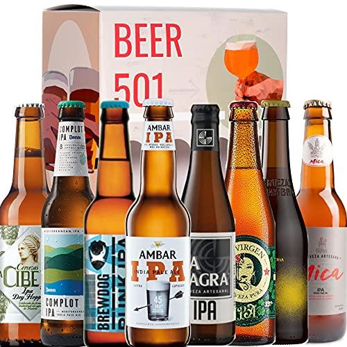 Beer Tasting Box | Geschenk-Idee BEER 501 - Bier IPA: Cibeles, Maisel, Brewdog Punk, Ambar, La Sagra, La Virgen, Alhambra Citra, Complot. | + Bier Geschenke + Geburtstags Geschenke