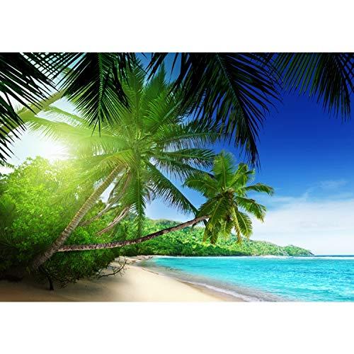 Fototapete Wand Foto Tapete Bild Vliestapete selbstklebende Textiltapete - PARADISE BEACH - Strand Meer Palmen Beach 3D Ozean Palme - no. 005, Größe:200x140cm Vlies HiQ