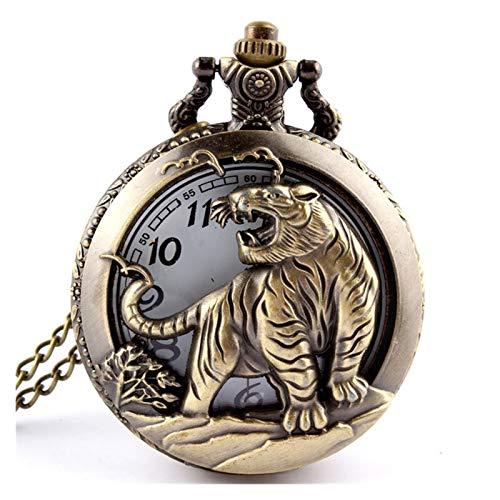 Reloj de bolsillo, estilo retro antiguo chino del zodiaco calado collar para hombre redondo bronce bolsillo bolsillo reloj niño (color tigre)