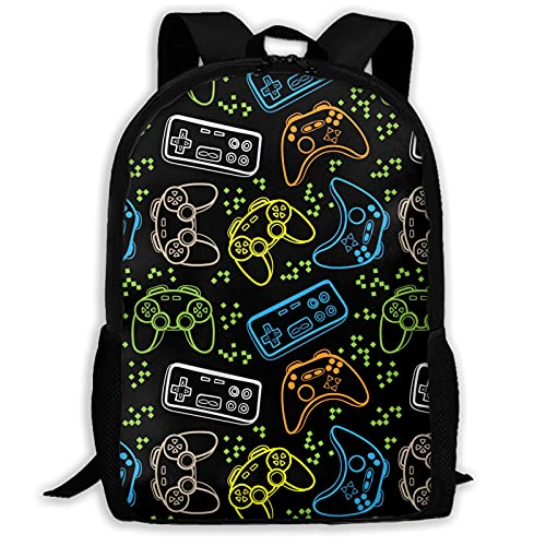 Colorful Video Game Laptop Computer Backpack, Multi-functional School Hiking Work Daypacks Waterproof Business Computer Backpack Bag Fit 15.6 Laptop and Notebook