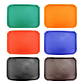 New Star Foodservice 28010 6-Piece Fast Food Tray 12 by 16-Inch Assorted Colors