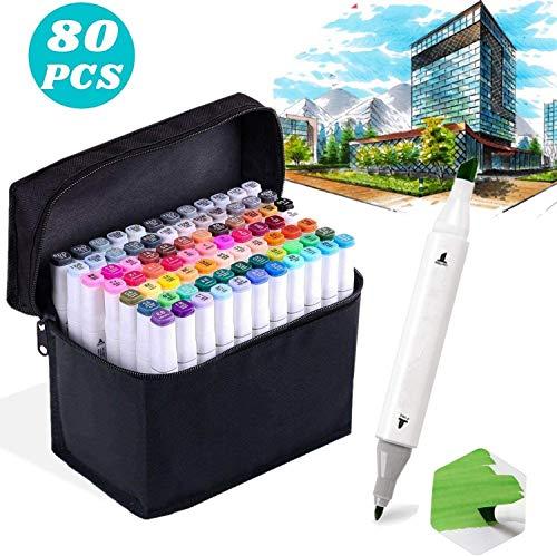 Yetech 80 Farbige Marker Pens Set Doppelspitze Textmarker Sketch Marker Stifte für Malerei Coloring Hervorhebungen und Unterstreichungen mit Tragetasche.