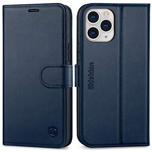 SHIELDON iPhone 12 Pro Max Hülle, Stoßfeste Handyhülle [100prozent Rindsleder] [4 Kartenfächer] [Verdichtes TPU] [RFID Blocker] [Stand] [Magnet], Lederhülle Kompatibel für iPhone 12 Pro Max 6,7 Marineblau