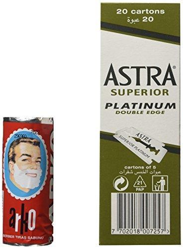 Astra 100 Astra Superior Platinum Double Edge Safety Razor Blades and Arko Shaving Cream Soap Stick