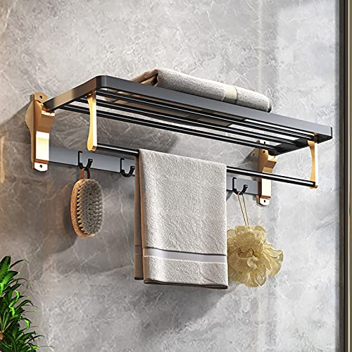 LIskybird Toallero Individual Autoadhesivo, Toallero Plegable de Aluminio, Soporte de Toalla de BañO Toalleros de Pared para BañOs de Cocina,Black Gold,50cm