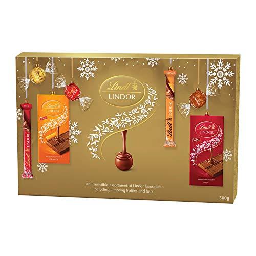 Lindt LINDOR Milk, White, Hazelnut, and Milk Orange Chocolate Christmas Selection Gift Box, 500g
