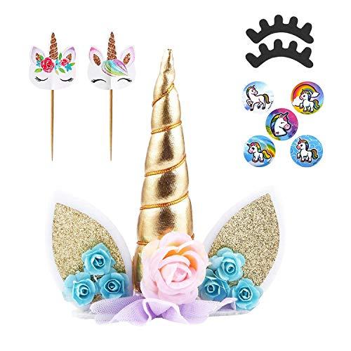 Oasis Supply, Unicorn Cake Toppers, Unicorn Cupcake Decorations, Unicorn Favors, Cake Kits -- Cake Topper with Eyelashes & Unicorn Stickers