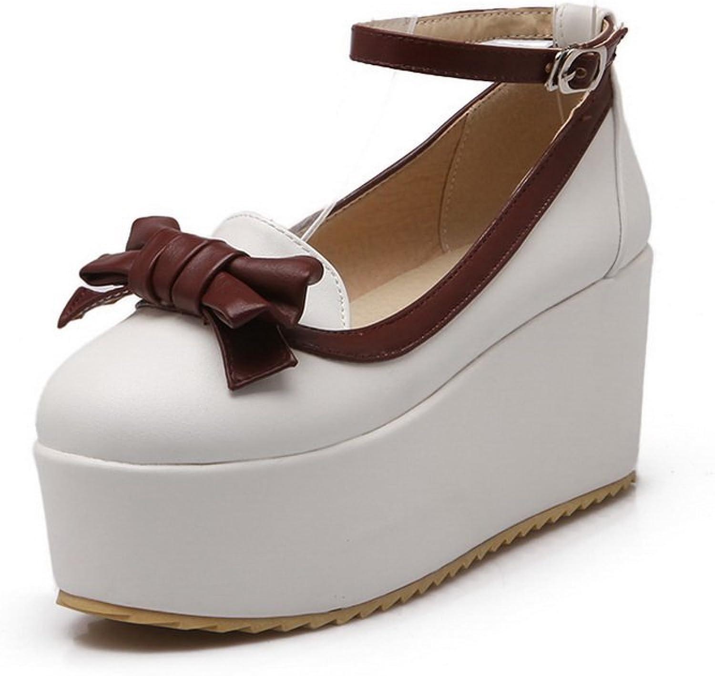 BalaMasa Girls Buckle Round-Toe Imitated Leather Pumps-shoes