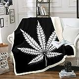 Feelyou Marijuana Leaf Sherpa Blanket Cannabis Leaves Throw Blanket Marijuana Weed Leaf Print Fleece Blanket for Couch Bed Sofa Men Bedroom Decor Black White Leaf Pattern Fuzzy Blanket Baby 30'x40'