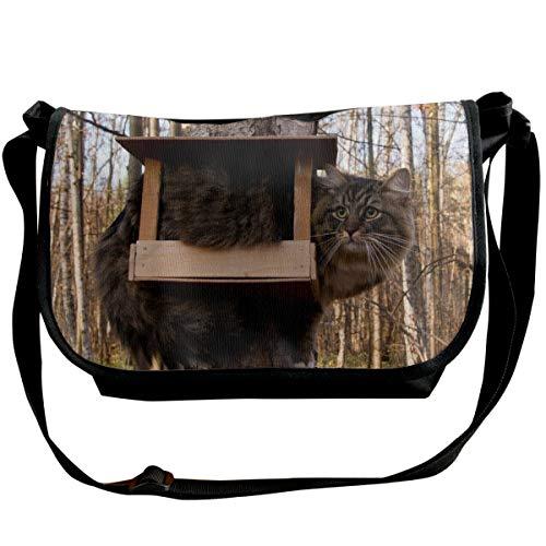 Fashion Unisex Casual Messenger Bag Umhängetasche Umhängetasche für Reisen/Business/Workout – Katze Vogelhaus Furry Funny Situation