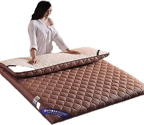HKX Colchón Impermeable Grueso, Alfombra de Piso para futón, Color marrón 150x190cm (59x75 Pulgadas)