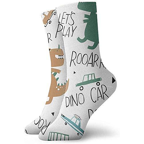 Be-ryl Handgezeichnete Dino und Toy Cars. Kreativer Vektor-kindischer Hintergrund-athletische zufällige laufende Socken