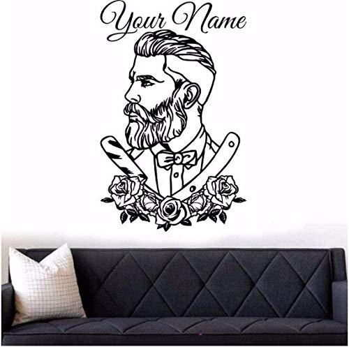 Salon de coiffure autocollant mural tatouage Hipster autocollant mural homme Salon décalcomanies salon de coiffure affiche de fenêtre amovible 57X88Cm