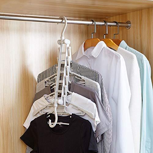 Multifunktions-Kleiderb/ügel,DIAOCARE 5pcs Magic Hangers Kleiderb/ügel Aufh/änger Platzsparend Kunststoff Kleiderb/ügel-Organizer,Klappbarer Kleiderb/ügel mit 9-L/öchern Standard-Kleiderb/ügeln zum Kleidung