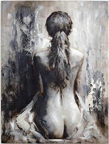 Tableau Peinture Femme Nue. Dimensions 60 X 90 cm. Tableau Vertical. Véritable Peinture à l'Huile sur Toile de Coton. Travail au Pinceau. Tableau Signé. Décoration Murale Contemporaine Elégante