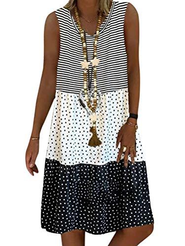 Minetom Sommerkleid Leinen Kleider Damen Strand Elegant Casual V-Ausschnitt Ärmellos Strandkleider Streifen A-Linie Kleid Boho Lose Knielang...