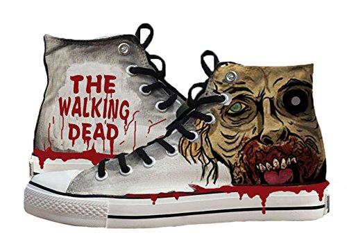 """""""The Walking Dead""""-Schuhe, Leinen-Schuhe, Sneaker, handbemalte Schuhe, Herren Jungen damen, grau, 8 D(M) US Male"""