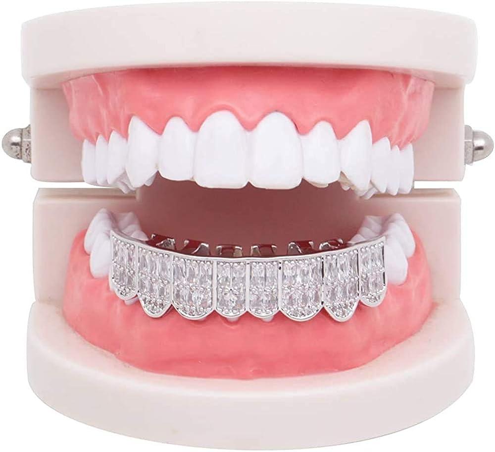 canjoyn 18K Gold Teeth Grillz Square Pave CZ 8 Teeth Top Bottom Men Women Grillz Diamonds Grillz+ 2 Extra Molding Bars