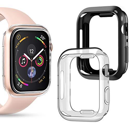 Apple Watch 5 40mm ケース 2セット アップルウォッチ 4 / 5 40mm ケース TPU ソフト 超薄 耐衝撃 バンパータイプ 保護ケース アップル ウォッチ シリーズ 4 5に対応(40MM, ブラック+クリア)