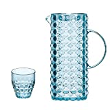 Water Pitcher Sets, Creative Cold Water Jug with Lid, Drip-Free Resin Pitcher, for Iced Tea, Coffee, Water, Juice, Vodka, Tequila,Blue