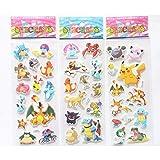 Barhunkft(TM) 3pcs DIY Pokemon Stickers Pikachu Pocket Monster Scrapbooking Sticker Sheet