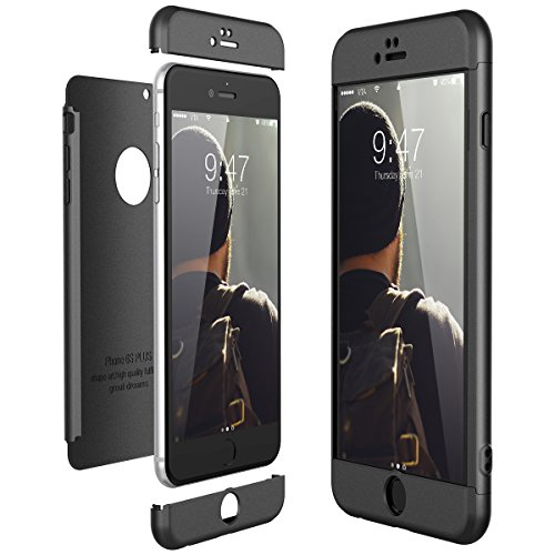 CE-Link Funda para Apple iPhone 6 Plus 6S Plus Rigida 360 Grados Integral, Carcasa iPhone 6 Plus Silicona Snap On Diseño Antigolpes Choque Absorción - Negro