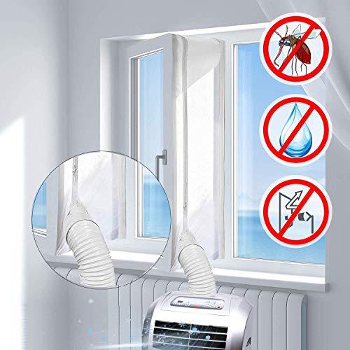 ABCCC - Sellado universal de ventana para aire acondicionado portátil y secadora de ropa, fácil de instalar, protectores de intercambio de aire con cremallera y cinta de gancho