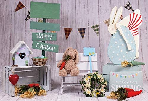 Dulce Primavera Pascua fotografía telón de Fondo Conejito Zanahorias Huevos de Pascua Cesta Flor bebé Pascua Fondo para Estudio fotográfico A14 2,7x1,8 m