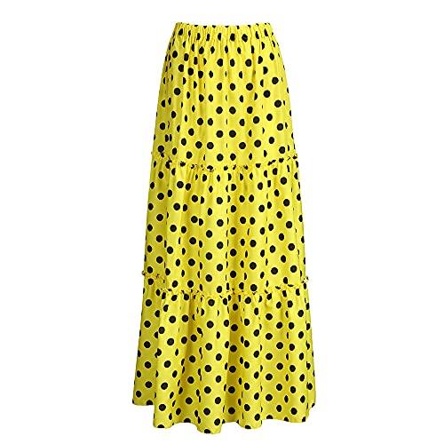 N\P Faldas largas plisadas para mujer, falda de verano con estampado de lunares y cintura elástica para fiesta, amarillo, 5X-Large