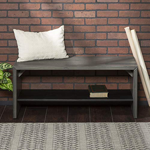 WE Furniture AZ42ALPGY Rustic Solid Wood Entryway Dining Bench, 42 Inch, Grey