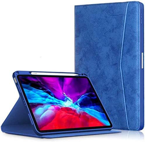 Estuche para iPad Air 4 10.9 Pulgadas 2020 con Portalápices Funda De Cuero De PU Inteligente En Folio [Admite Carga Inalámbrica Y Desbloqueo De Huellas Digitales],Blue