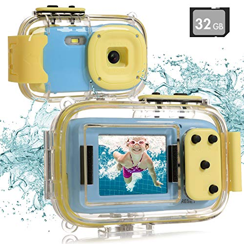 """Kids Underwater Camera, Waterproof Digital Camera, 8MP 1080P HD Kids Video Toy Camera with 2.0""""IPS Screen, 32GB SD Card, Waterproof & Silicone Case, Lanyard, Camcorder for Boys Girls Age 3-12 (Blue)"""