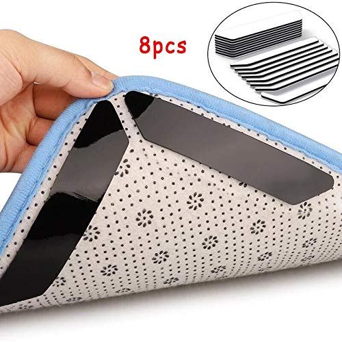 Rug Grippers - Best Non-Slip Washable Rug Gripper - Keeps Your Rug in Place & Makes Corners Flat - Strong Sticky Anti Slip Carpet Tape for Curled Corners & Edges