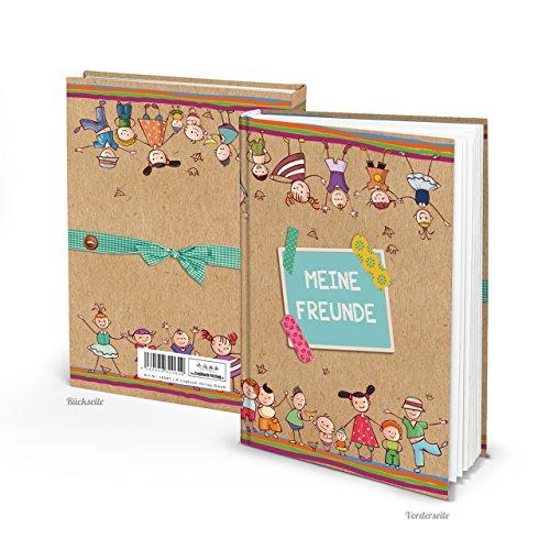 FREUNDEBUCH für Kinder Bunt blau rot türkis Kraftpaier Poesie-Album Freunde Schulfreunde Buch Mädchen Jungen Freundschaftsbuch DIN A5 Kindergarten zum Einschreiben als Geschenk
