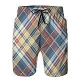 LJKHas232 Shorts de Playa para Hombre, Shorts de Playa, Cuadros a Cuadros, Cuadros, Textura de Tela sin Costuras M