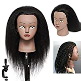 """Mannequin Head with Human Hair 14"""" 100% Real Hair Professional Training Manikin Head Cosmetology Head for Practice Hairstyle Styling Cutting Braiding for Children as Gift and Free Clamp Holder (D-D14)"""