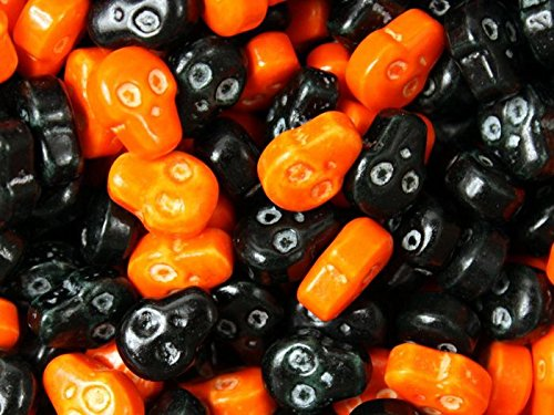 Skulls- Orange And Black Colored 2 Pounds - Halloween Hard Candy