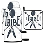 Moslion Tribe Oven Mitts and Pot Holders Set Indian American Native Chief Silhouette Crossed Arrows Ethnic Feather BBQ Cooking Set Baking Grilling Barbecue Kitchen Oven Glove