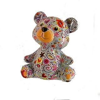 Pomme Pidou Skarbonka niedźwiedź zielony ze słoniami skarbonka miś skarbonka prezent pieniężny prezent