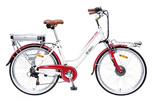 STEM Elektrofahrrad E-Bike Samsung Lithium Akku 26\' 250W Shimano 6-Gang Elektromotor inkl. USB, Farbe:weiß-rot