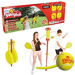 The classic Swingball Complete with two 265 gram Checkerbats Ideal for the garden or beach (weather resistant components) Pole spike pushes into the ground, adjustable height up to 1.6 metres (5 feet, 3 inches) Your Classic Swingball could arrive wit...